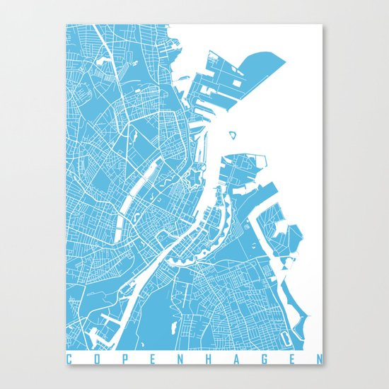 Copenhagen map blue Canvas Print