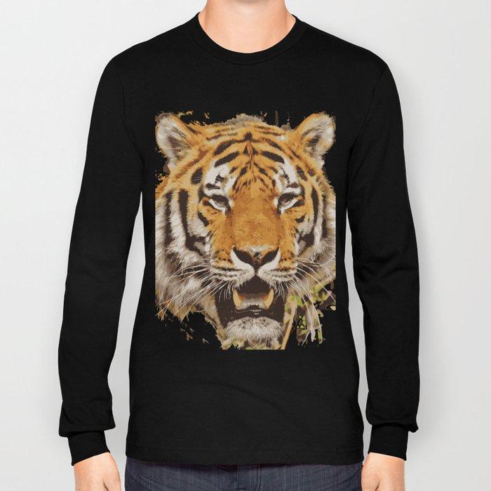 tiger face vektor Long Sleeve T-shirt