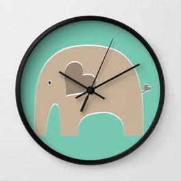 Turquoise Safari Elephant 2 Wall Clock