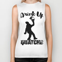 Big Foot Coffee Lover Drink Up Squatches Biker Tank