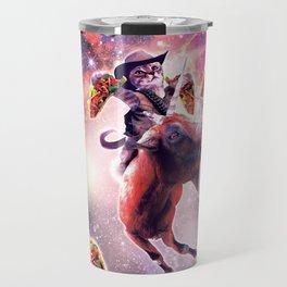 Cowboy Space Cat On Goat Unicorn - Taco Travel Mug