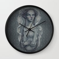 wedding Wall Clocks featuring White Wedding by Zan Von Zed