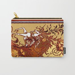 White Unicorn in Coffee Browns Carry-All Pouch