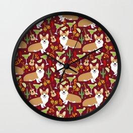Corgi Margarita Party Wall Clock