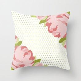Peonies & Polka Dots Throw Pillow