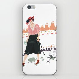 Woman with duck iPhone Skin