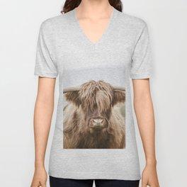 Highland Cow Portrait Unisex V-Neck