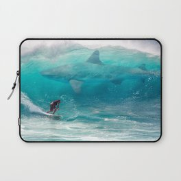 Surfing with a Giant Shark Laptop Sleeve