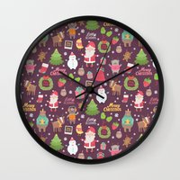 merry christmas Wall Clocks featuring Merry Christmas by Anna Alekseeva kostolom3000