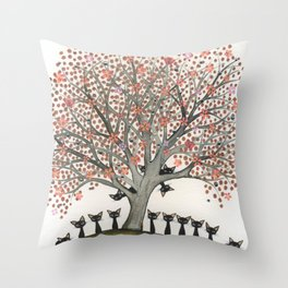 Barbados Whimsical Cats in Tree Throw Pillow