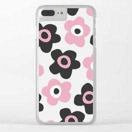 Black and pink flowers Clear iPhone Case
