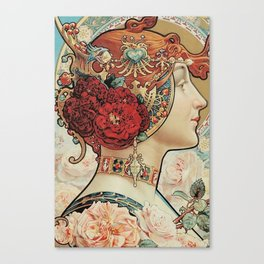 Lady With Flowers - Alphonse Mucha Canvas Print