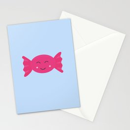Pink candy bonbon with smile Stationery Cards