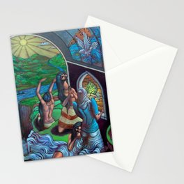A New Day Rises over Mesoamerica; Mexican Yucatán Peninsula female form landscape painting Stationery Cards