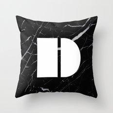 Black Marble - Alphabet D Throw Pillow