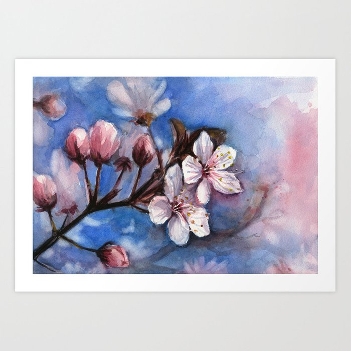 Cherry blossoms watercolor spring flowers art print by olechka cherry blossoms watercolor spring flowers art print mightylinksfo Choice Image