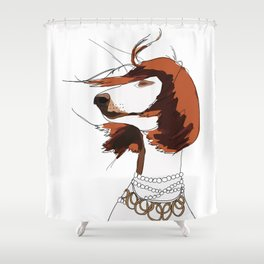 Messy Hair Don't Care Dog Shower Curtain