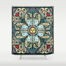 Vintage Style Sun Mandala Shower Curtain