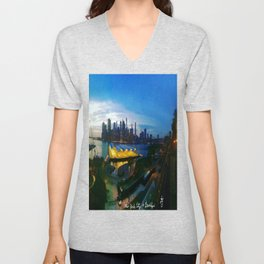 New York City as viewed from the Beautiful Brooklyn Heights Unisex V-Neck