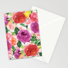 Hand painted pink purple watercolor roses floral Stationery Cards