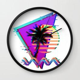 Vaporwave Palm Sunset 80s 90s Glitch Aesthetic Wall Clock