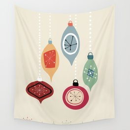 Retro Christmas Baubles Wall Tapestry