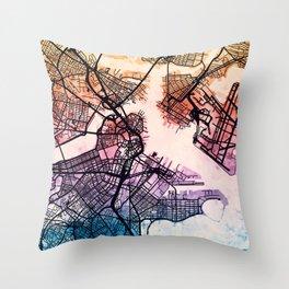 Boston Massachusetts Street Map Throw Pillow