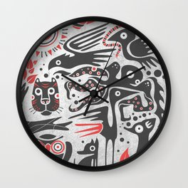Forest and animals illustration Wall Clock