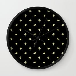 Black Vintage Lily-of-the-Valley Mini-Print Wall Clock