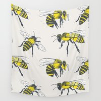 bees Wall Tapestries featuring Bees by Tracie Andrews