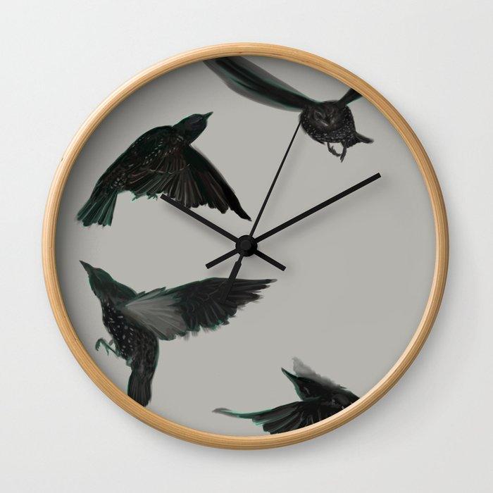 Common Starlings Wall Clock