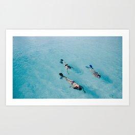 swimming in ocean Art Print