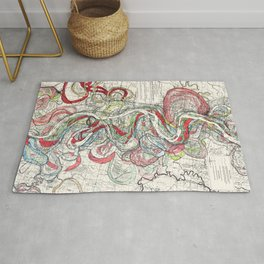 Beautiful Vintage Map of the Mississippi River Rug