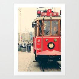 Vintage red tram Art Print
