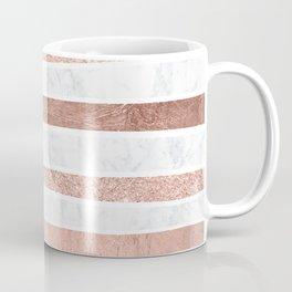 Modern faux rose gold glitter foil marble stripes pattern Coffee Mug