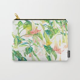 Brugmansia Delicate Floral Watercolor Trumpet Flower Painting Carry-All Pouch