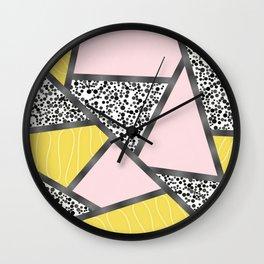 Pink yellow black Wall Clock