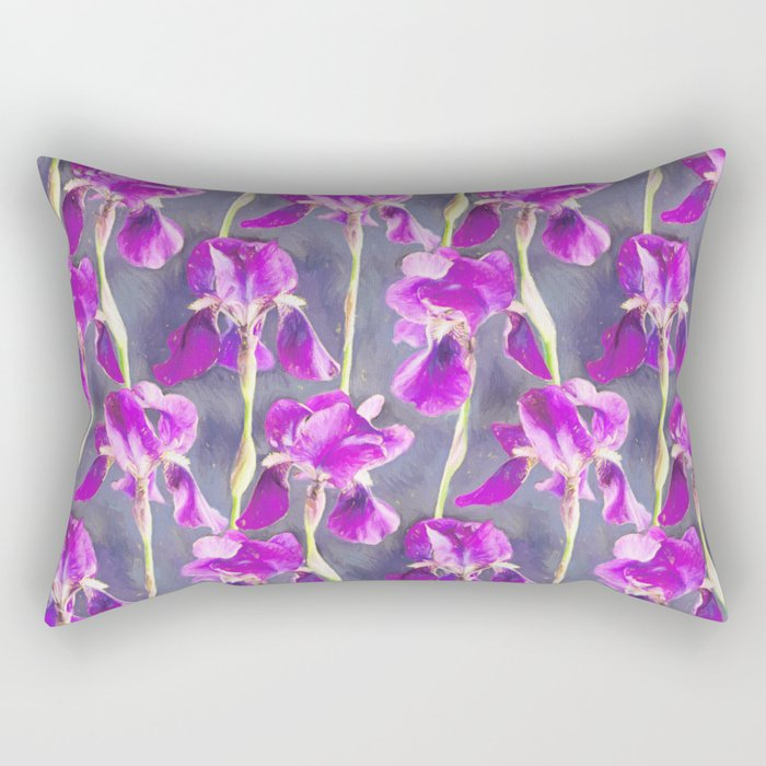 Simple Iris Pattern in Warm Magenta Rectangular Pillow