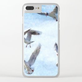 Gulls In Flight Watercolor Clear iPhone Case