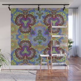 Passion Petals Retro Groovy Kaleidescope Psychedelica Print Wall Mural