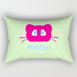 Pink cat head with blue eyes. Meow =) Rectangular Pillow