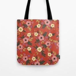 Vermillion Floral Tote Bag