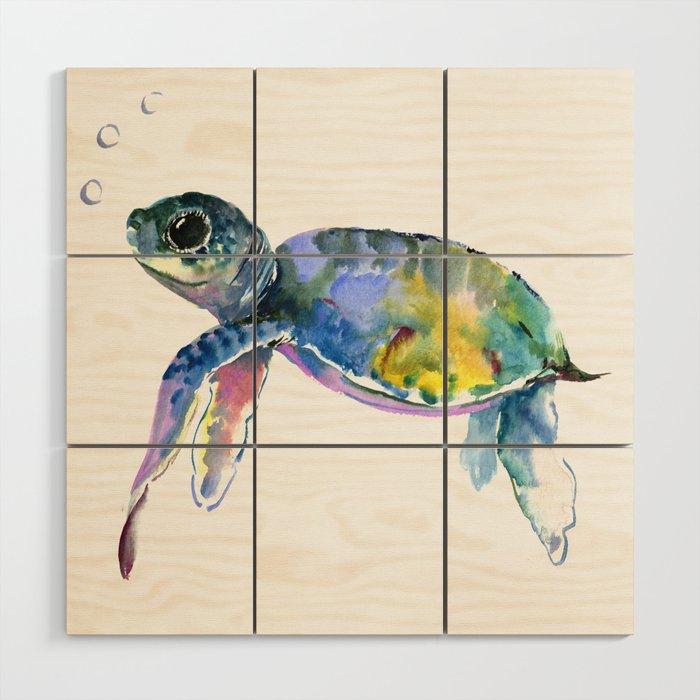 Sea Turtle Children Artwork Illustration Wood Wall Art By Sureart