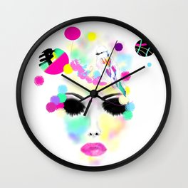 Visu 28 Digital art Woman and bird Multicolor Wall Clock