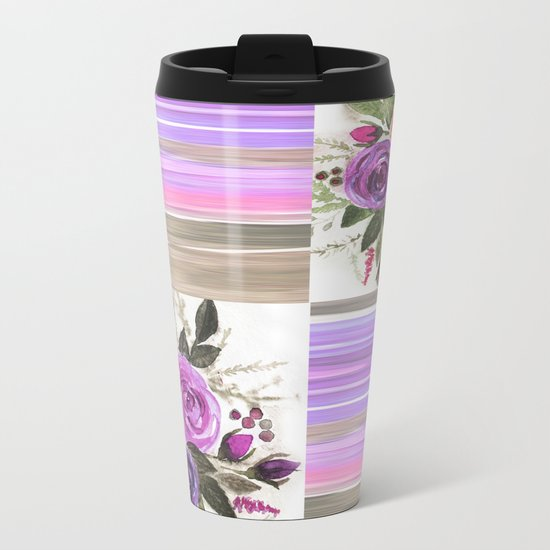 Watercolor. Patchwork Metal Travel Mug