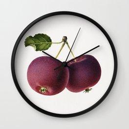 Vintage apple on a twig Wall Clock