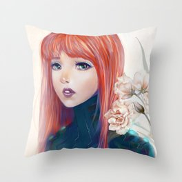Captain Goldfish - Anime sci-fi girl with red hair portrait Throw Pillow