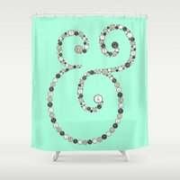 font Shower Curtains featuring Original Font Ampersand Typewriter by mikailah.clark