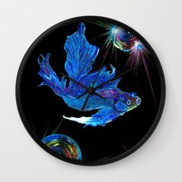 Siamese fighting fish & shiny bubbles Wall Clock