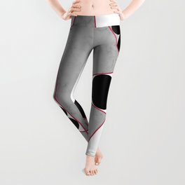 Contemporary Geometric Grey Marble Design Leggings